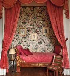 In Joy de Rohan-Chabot's French château, an Empire bed is framed by silk-damask curtains; the wallpaper and chair date from the century. Seen In Architectural Digest November Photographer: Oberto Gili Alcove Bed, Bed Nook, Wall Nook, Bed Wall, Damask Decor, Damask Curtains, French Interior, Interior Design, Interior Paint