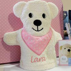 Liebling Eisbär Ella - ein süßer Waschlappen mit Namen bestickt. Sterntaler mit Namen