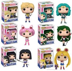 Ad - POP Sailor Moon Luna Chibiusa Meiou Setsuna Kaiou Michiru Uranus Sailor Saturn C Sailor Moon Luna, Sailor Chibi Moon, Sailor Neptune, Sailor Saturn, Sailor Mars, Vinyl Figures, Action Figures, Funko Pop Anime, Funko Pop Dolls