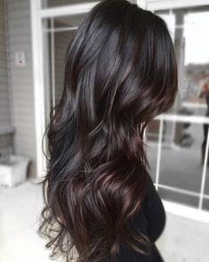 black hair Highlights - 25 Balayage Hair Color Ideas for Black Hair in 2019 - With Hairstyle Black Hair With Highlights, Brown Ombre Hair, Ombre Hair Color, Hair Color For Black Hair, Hair Color Balayage, Brown Hair Colors, Hair Highlights, Purple Hair, Black Balayage