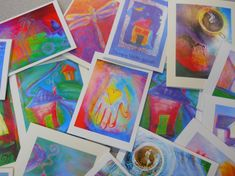 Variety pack of six colorful whimsical art cards, to be framed, written and sent, or given as a gift
