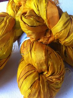 Recycled sari silk ribbon. 50g. Large skein of yellow gold rich quality sari silk. Fair trade yarn for jewelry making and more. by Yarnyarnyarns on Etsy