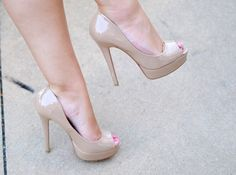 Nude peeptoe pumps... looking everywhere for these!