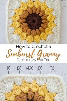 Easy crochet sunburst granny square Make out of scraps or make several for a beautiful crochet afghan crochetsunburstgrannysquare grannysquare crochetgranny crochetafgahn sunburstgranny crochetpattern Granny Square Crochet Pattern, Crochet Blocks, Crochet Squares, Crochet Granny, Knit Crochet, Crochet Geek, Crotchet, Crochet Afghans, Crochet Motifs