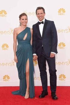 Seth Myers and Alexi Ashe | All The Red Carpet Looks From The 2014 Emmy Awards
