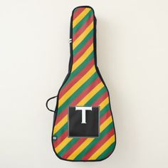 #stripes - #Flag of Lithuania Inspired Colored Stripes Pattern Guitar Case