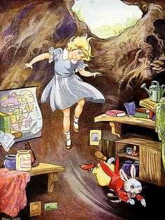 Down the rabbit hole with Alice. Alice's Adventures in Wonderland  by Lewis Carroll