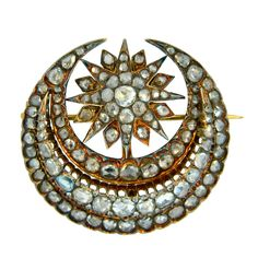 Georgian, Rose Cut Diamond and Gold Crescent Brooch   circa 1790 http://www.1stdibs.com/jewelry/brooches/brooches/