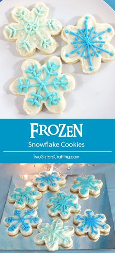 Who doesn't love frosted sugar cookies? These Frozen Snowflake Cookies were a popular treat at our Frozen Birthday Party, Made with our delicious sugar cookie and buttercream frosting recipes they will make a yummy addition to your Frozen party. Frozen Birthday Party, Disney Frozen Party, Frozen Theme Party, Girl Birthday, Birthday Parties, Cake Birthday, Birthday Ideas, Disney Frozen Cookies, Frozen Themed Food