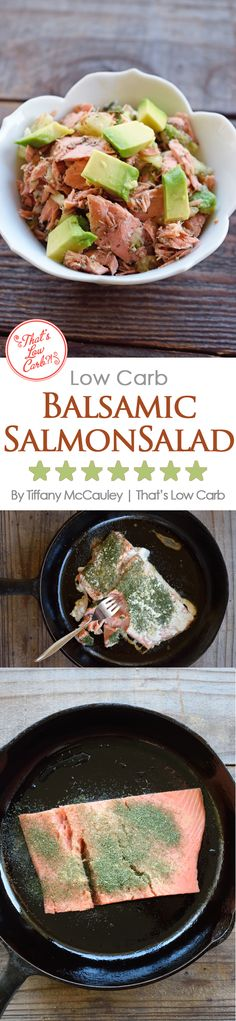 Low Carb Balsamic Salmon Salad. Such a delicious option for lunch or dinner. Would even go great on toast for breakfast! I made a salmon salad sandwich the next day with the leftovers. Yum! ~ http://www.thatslowcarb.com