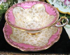 Pink and Gold EB Foley Tea Cup and Saucer