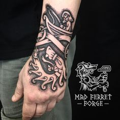 Thor's Fishing Trip and the Midgard serpent tattoo by Madferretforge. – Thor's Fishing Trip and the Midgard serpent tattoo by Madferretforge. Hand Tattoos, Finger Tattoos, Sleeve Tattoos, Fish Tattoos, Tatoos, Wolf Tattoos, Norse Tattoo, Celtic Tattoos, Viking Tattoos