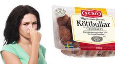Köttbullar som man köper i affären, som säljs av märken som till exempel l Ica, Coop eller klassikern Mamma Scan, kan lukta illa, som fis. Vi vet varför?