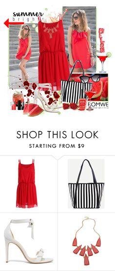"""Romwe Red Dress.....1295"" by susanlo ❤ liked on Polyvore featuring Alexandre Birman, Chanel, Blu Bijoux, Summer, red, dress, dream and watermelon"
