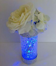 Blue glitter centerpiece