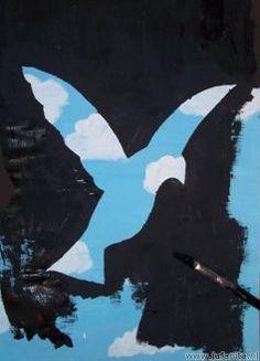 René Magritte was een Belgisch surrealistisch kunstenaar. Zijn schilderijen spreken veel kinderen aan en zijn niet moeilijk na te maken in een tekenles. De kinderen in de bovenbouw mochten voor dit schilderatelier kiezen. Voor het schilderattelier had ik een serie lessen rond kunstenaars zoals Magritte, Hundertwasser e.d. opgezet. Nodig: grote …