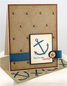 handmade card by Debbie Olsen ... anchor ... masculine look on kraft .... luv the brass brads on the embossed diamond points ...