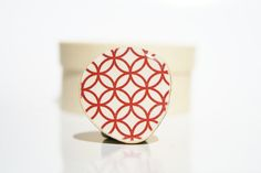 summer Cocktail Ring Red circle pattern by starlightwoods on Etsy, $19.50