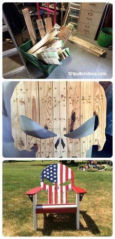 How to build Pallet Adirondack Skull Chair & Painted Flag - DIY | 101 Pallet Ideas