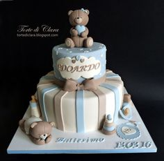 Baptism cake - Cake by Clara Torta Baby Shower, Baby Boy Shower, Baby Birthday Cakes, Baby Boy Cakes, Cakes For Boys, Baby Christening Cakes, Teddy Bear Cakes, Teddy Bears, Fondant Cupcakes