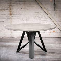 QAZQA - industriële ronde eettafel 150x4 betonlook met zwarte Aquila poot - Rockefeller Dining Room, Dining Table, Industrial Design, Sweet Home, Interior Design, Cool Stuff, Kitchen, Inspiration, Furniture