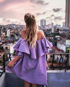 Purple summer dress for gorgeous sunset in Havana, Cuba.