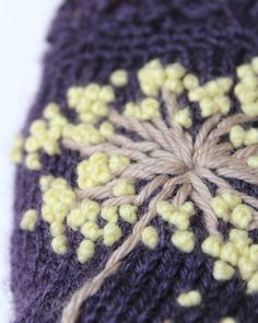 MADE TO ORDER  These unique hand knitted accessory can be a wonderful accent to Your clothes :)  Gloves are: length: 20cm (8 inches); circumference of the wrist: 18 cm (7). fiber composition: 60% wool, 40% acrylic; colors: dark violet background; beige, light yellow dots; size: M.