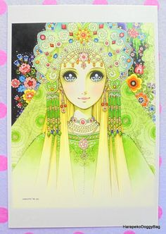 An illustration of a lovely princess. This is a Japanese postcard released for a Macoto Takahashi shojo art exhibition in Tokyo, Japan.