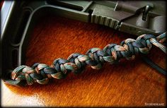 twisted Solomon bar/cobra stitch on an AR15 rifle stock