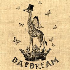 Daydream    giraffe wings fantasy butterfly crown dream vintage graphic art transfer gift tag label napkins burlap pillow Sheet n.754. $1.00, via Etsy.