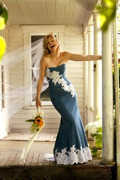 Denim (wedding) gown, I want this for a black tie event! Denim Wedding Dresses, Country Wedding Dresses, Wedding Gowns, Wedding Country, Lace Wedding, Bridesmaid Dresses, Wedding Rings, Denim Dresses, Casual Wedding