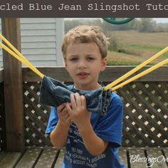Upcycled Blue Jean Slingshot Tutorial put this in the play ground for the boys to play with...