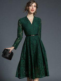 c489919e7a42 Buy Lace V-Neck Long Sleeve Elegant Skater Dress at DressSure.com Color: