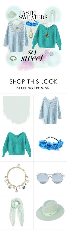 """Untitled #1103"" by rainestorm77 ❤ liked on Polyvore featuring Romeo + Juliet Couture, Charter Club, For Art's Sake, Furla, Maison Michel, Maggy London and pastelsweaters"