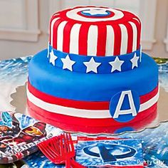 Stacey ! for Maves birthday ! Avengers Fondant Cake How-to - Party City
