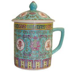 Mint Green Longevity Chinese Ceramic Tea Cup Mug w/ Lid