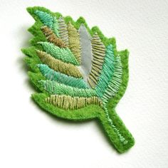 leaf felt brooch