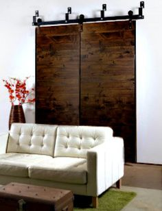 Bypass Barn Door HardwarePatented (US 9,091.106 B2), unfinished so we can paint white with Deep Bronze hardware/black wheels for basement/pantry area. $1257., estimated
