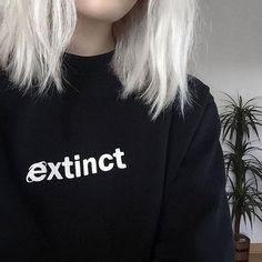 Dingtoll Casual Extinct Women Punk Style Hoodies Moletom Black Letter Hipster Sweatshirt Plus XL WMH132
