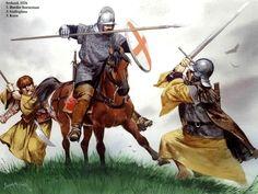 A Scottish Border Reiver horseman battles an Irish Galloglass and Kern, Ireland, c. 1576. Great image by Angus McBride