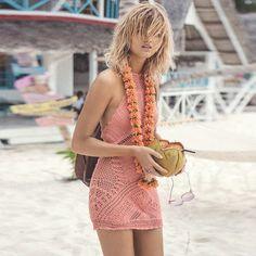 Knitting Backless Hollow out Beach Dress
