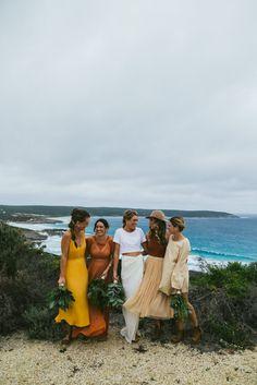 mismatched autumnal-toned bridesmaid dresses