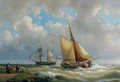 Hermanus Koekkoek - Zeilen langs de kust, een tweemaster in de verte