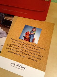 Personalize Shutterfly graduation announcements your way. See how Stacey added a fun-loving quote by Dr. Seuss as words of encouragement.