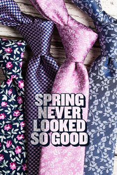 Look fresh this spring with new floral print styles from Ties.com. At $25 or less, this modern accessory has never looked better. Silk or cotton, skinny or standard, we're behind the bloom on your chest.