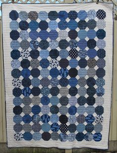 Modern blue on cream snowball single bed by bluesquarequilting