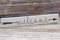 Welcome Wood Sign, Rustic Wood Sign, Arrow Wood Sign, Country Decor by CountrySquared on Etsy