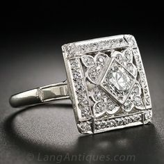 Jewelry Diamond : Square Art Deco Diamond Cocktail Ring  10-1-5345  Lang Antiques