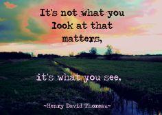 Its not what you look at that matters, it's what you see. - Quote van Henry David Thorseau - Te vinden op: www.kaartje2go.nl/spreukenkaarten