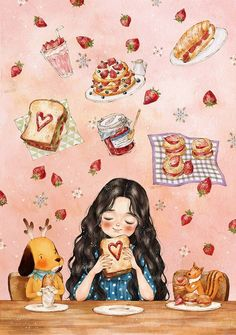 Image uploaded by Naty. Find images and videos about girl, art and wallpaper on We Heart It - the app to get lost in what you love. Cartoon Kunst, Cartoon Art, Cute Girl Illustration, Forest Girl, Korean Artist, Anime Art Girl, Belle Photo, Cute Cartoon, Cute Drawings